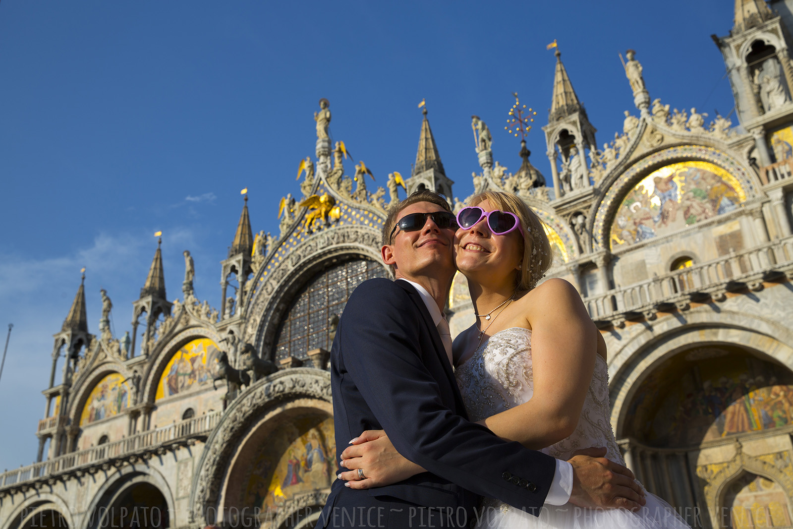 Venice photography session for wedding couple during walking tour and gondola ride ~ Venice honeymoon photographer