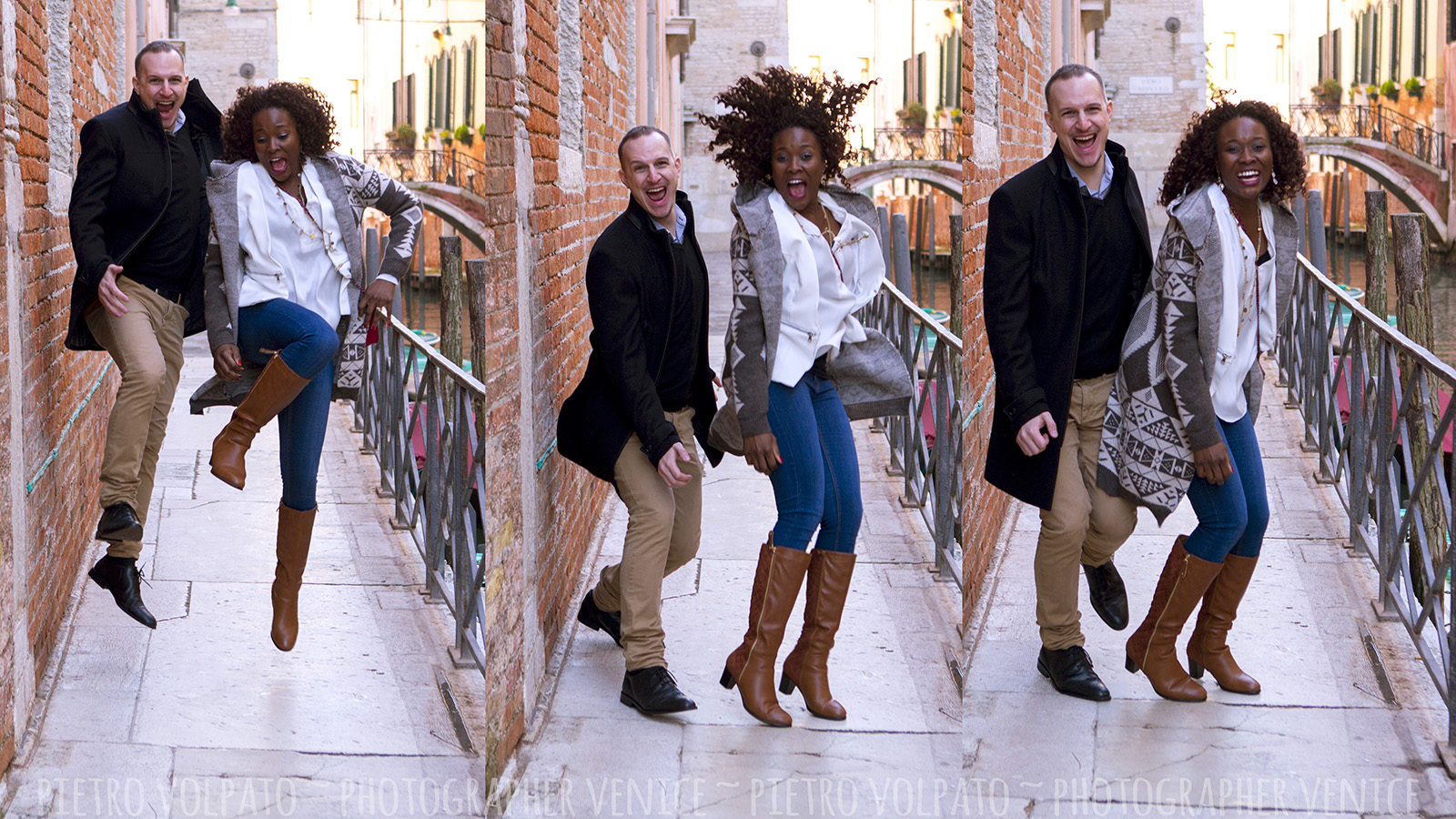 Photographer in Venice for vacation couple photo shoot ~ Having fun and romantic pictures during a walking tour in Venice Italy